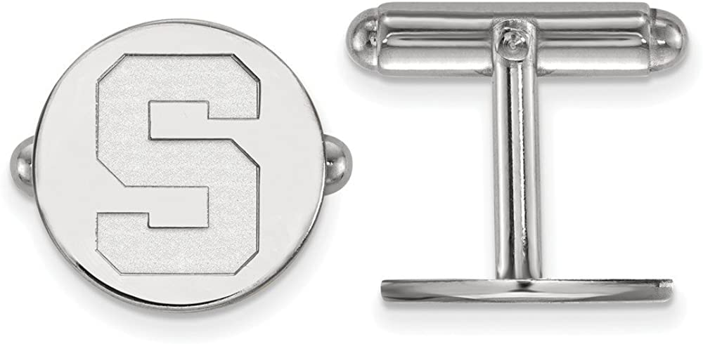15mm x 15mm Solid 925 Sterling Silver Michigan State University Cuff Link
