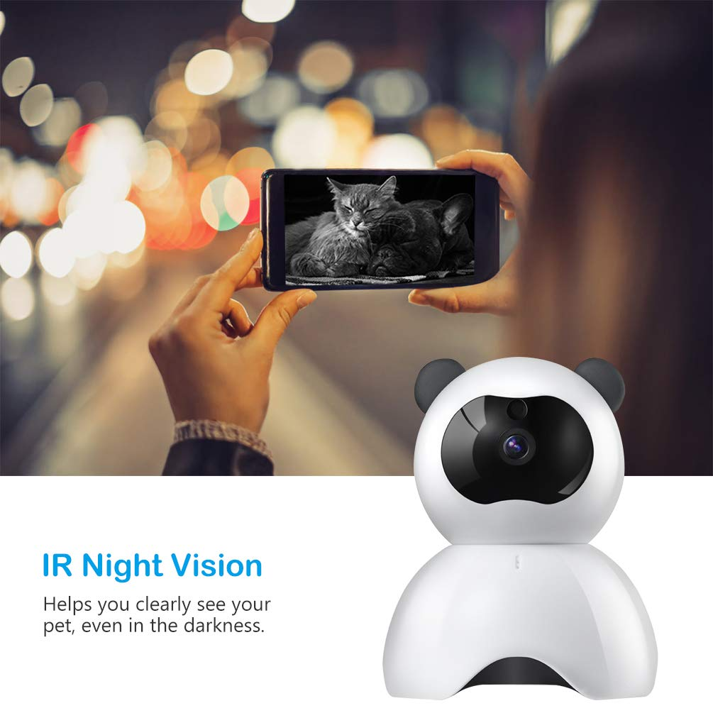Petacc Pet Camera Night Vision Dog Camera Indoor Cat Camera Wireless IP Camera for Pet Monitor, 2.4GHz, Two-Way Audio, 1080P Video, Motion Detection, Pan 350°, Tilt 65° by Petacc (Image #7)