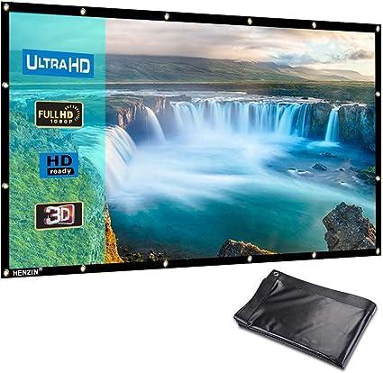 HENZIN Pantalla de proyector portátil Formato HD de 100 Pulgadas ...