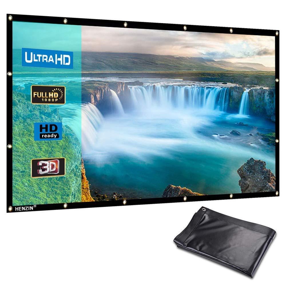 HENZIN Pantalla de proyector portátil Formato HD de 100 ...