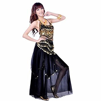 408a5d49a Best Dance Women's Belly Dance Costume Skirt with Gold Cions Skirt & Top &  hip Scarf Black: Amazon.co.uk: Toys & Games
