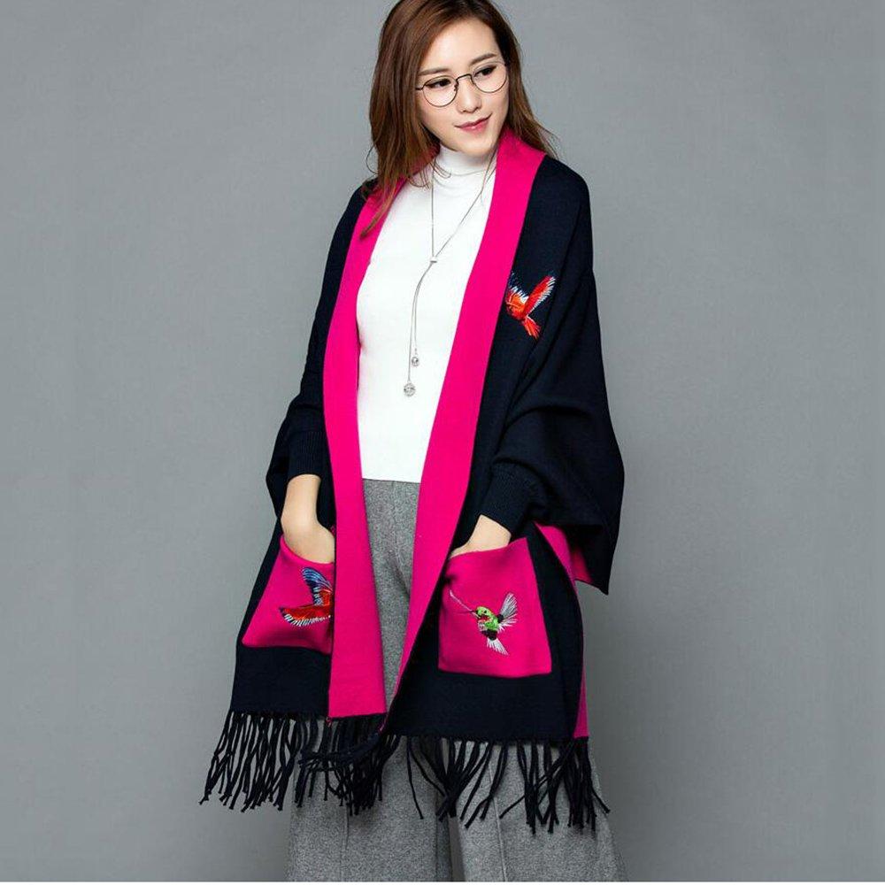 Bufanda HAIZHEN Elegante de moda mantón de la capa larga gruesa del otoño e invierno de punto de las mujeres de doble uso Suave y cálido (Color : Marina)