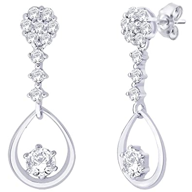 Peora Valentine Sterling Silver Cubic Zirconia Earrings PS2038E Earrings at amazon