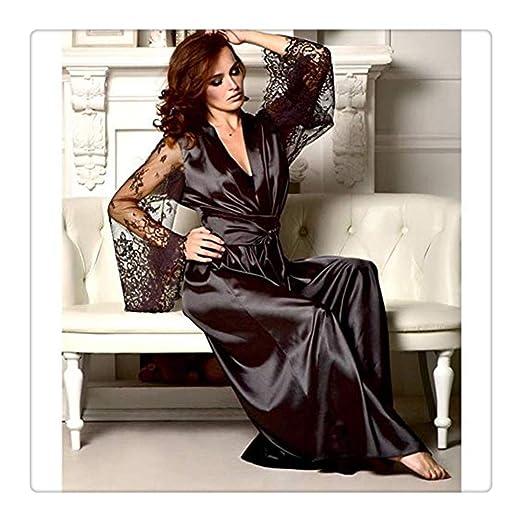 c82375a35 Amazon.com  WaiiMak Sexy Lingerie Women Satin Long Nightdress Silk ...