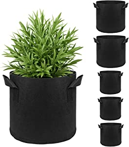 5 Pack Plant Grow Bags, 3 Gallon + 1 Gallon Upgraded Fabric Garden Container Planter Pots with Handles for Vegetables Flowers Fruits Herbs Plants Growing