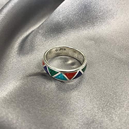 Southwestern Style Multi Gemstone 6mm Wedding Band Sterling Silver Ring