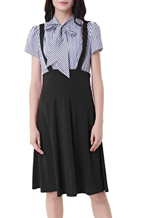 6dc5d6007 Belle Poque Women's High Waist Strap Pinafore Suspender A-Line Suspender  Skirts Black Size M