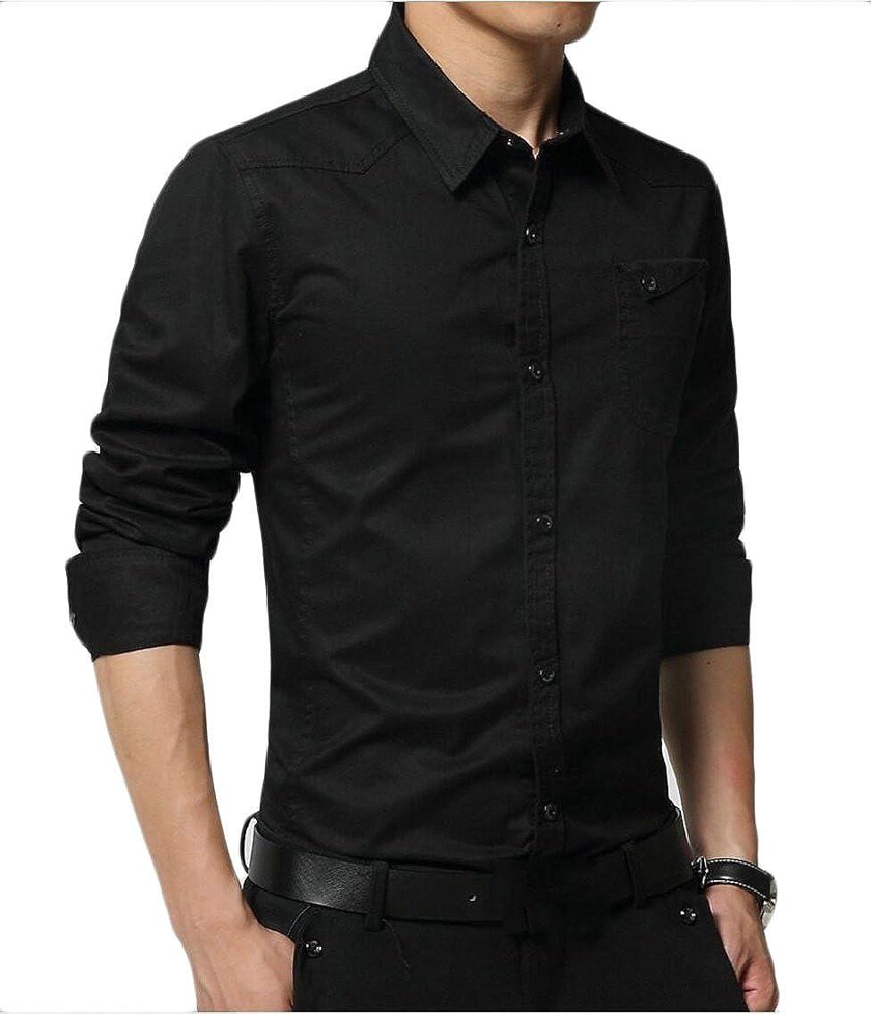 HTOOHTOOH Mens Military Casual Long Sleeve Button Down Dress Shirts
