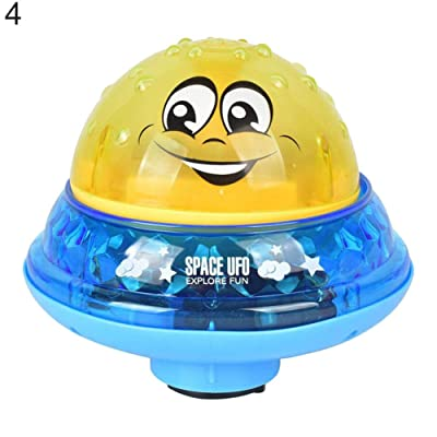At27clekca Baby Bath Pool Toys for Toddlers Boys Girls Electronic Float Rotate Spray Water Toys for Pools and Bathtubs Light Music Sprinkler Water Splash Ball Yellow with Base: Sports & Outdoors