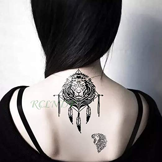 3 piezasPegatina de Tatuaje a Prueba de Agua Fox Wolf Moon Girl ...