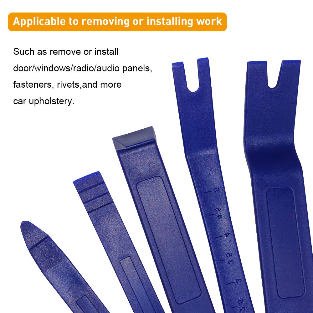 5Pcs Trim Removal Tool Set Auto Body Kit for Car Clips Removal Manelord Trim Removal Tool Dashboard Removal and Car Door Panel Trim Removal