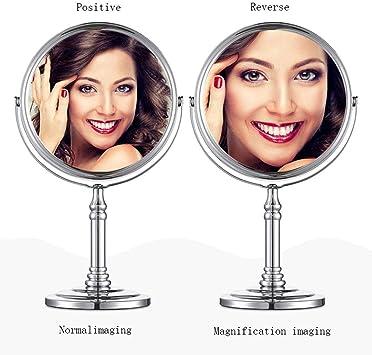 fcya Doppia Faccia Specchi da Tavolo Argento,Cromato Style 2-5 Inches Ingranditori 20X con Piedistallo,per Trucco e Rasatura Specchio da Trucco Adatto Girevole a 360/°