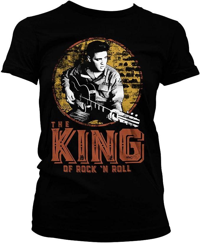 ELVIS PRESLEY Oficialmente Licenciado The King of Rock n Roll Mujer Camiseta: Amazon.es: Ropa y accesorios