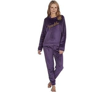 INSIGNIA Pijama de forro polar para mujer, diseño de búho ...