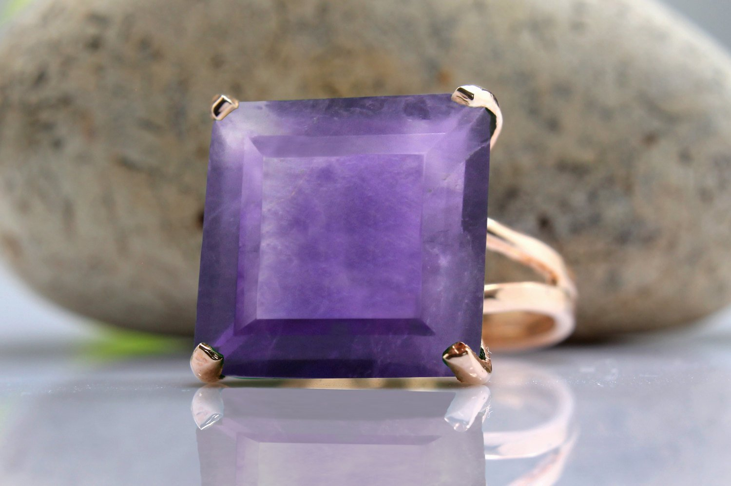 Amethyst ring,square ring,rose gold ring,February birthstone ring,statement ring,wow ring,gold ring,rose gold filled