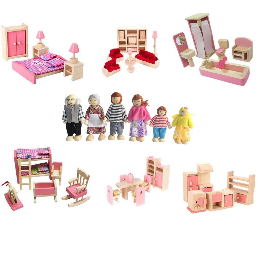 Kunhe 6 Set Wooden Dollhouse Furniture Including Kitchen,Bathroom, Bedroom, Kids Room,Living Room,Dinning Room for Dollhouse Pink Color with 6 Dolls