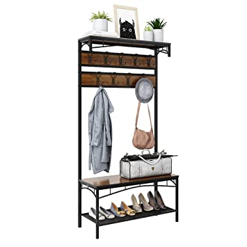 40in40 Entryway Coat Rack Rackaphile Vintage Metal Wood Hall Tree Extraordinary Metal Entryway Storage Bench With Coat Rack