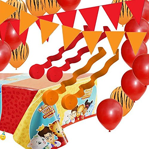 Daniel Tiger Table Cover, Balloons, Streamers, Pennant Flag (Tigers Party Pennant Flags)