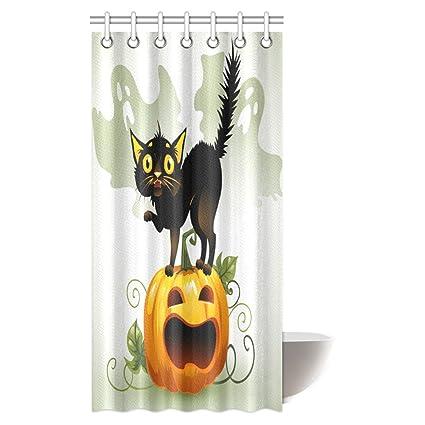 InterestPrint Halloween Shower Curtain Scared Black Cat On A Pumpkin And Ghost Fabric Bathroom Decor