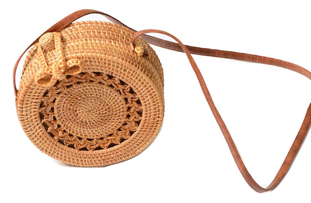 FIV-Tropic Handwoven Round Rattan Bag-Linen Inside and Bow Clasp (Braied)