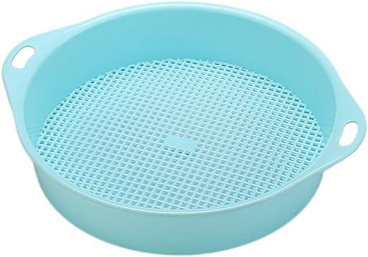 OUNONA - Colador para jardín, plástico, para jardín, herramienta de mano de malla (azul): Amazon.es: Jardín