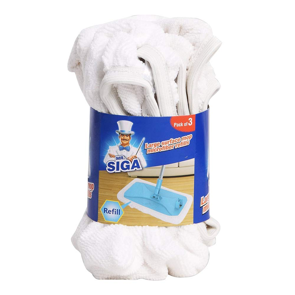 MR. SIGA Large Surface Mop Microfiber Refills, Size 39 x 21cm - Pack of 3 Ningbo Shijia Cleaning Tools Co. Ltd. SJ1549