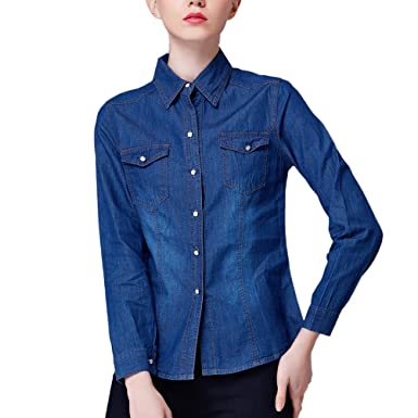 Zhuhaitf Popular Female Casual Roll Up Denim Jacket Cowboy Jean Shirts For Ladies