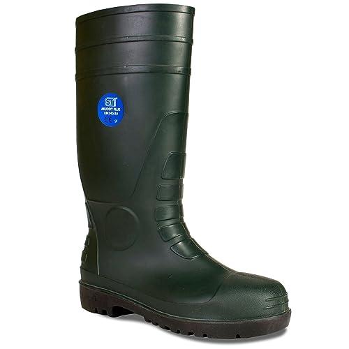 09e31b60085 ST Workwear Mens Super Safety Wellington Wellies Steel Toe Cap Penetration  Resistant Midsole Anti-Slip Sole Oil Resistant Outsole Hardwearing ...