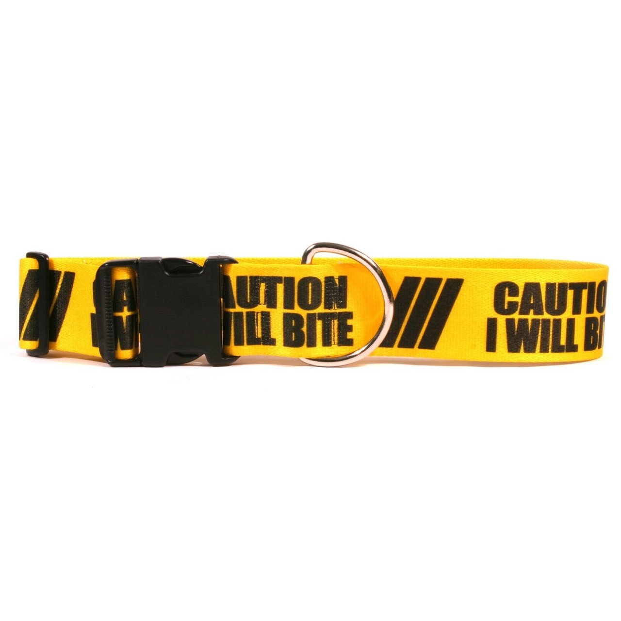 Yellow Dog Design 2'' Caution I Will Bite Dog Collar 2'' Wide and Fits Neck 14 to 20'', Medium by Yellow Dog Design