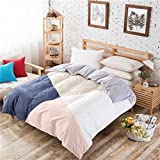 Modern Minimalist style Striped Solid Color 100% Cotton Quilt Cover-B 160x210cm(63x83inch)