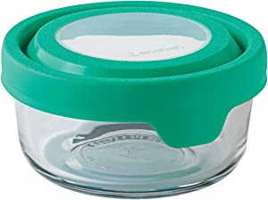 Anchor Hocking TrueSeal 2-Cup Round Glass Food Storage Container with Airtight Lid, Mint Green, Set of 1