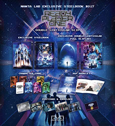 Ready Player One 3D MANTA-LAB EXCLUSIVE DOUBLE LENTICULAR SLIP STEELBOOK Region-Free 2-disc 3D/blu-ray set + 8x Character Cards + 36-Page Booklet + Postcards & Envelope #0848 of 1000