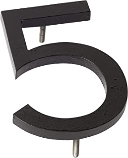 "product image for Montague Metal Products MHN-06-F-BK1-5 Solid Aluminum Modern Floating Address House Numbers, 6"", Powder Coated Black"