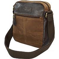 SQbags Bolsa para Hombre Safari Dark Mochila Cruzada Vintage con Acolchado para Tablet. Repelente al Agua. Alta Calidad…
