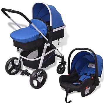 vidaXL Cochecito de bebé 3 en 1 Azul y Negro Aluminio ...