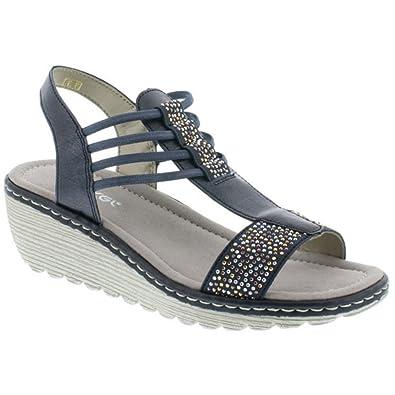 bf305376b974e Rieker K3747 T Bar Wedge Sandal: Amazon.co.uk: Shoes & Bags