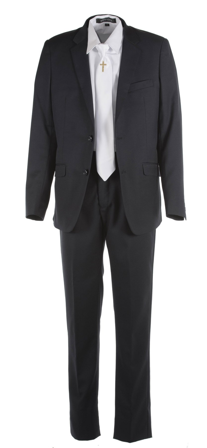 Tuxgear Boys Black Slim Fit Communion Suit With Gold Cross Dress Tie (Boys 18)