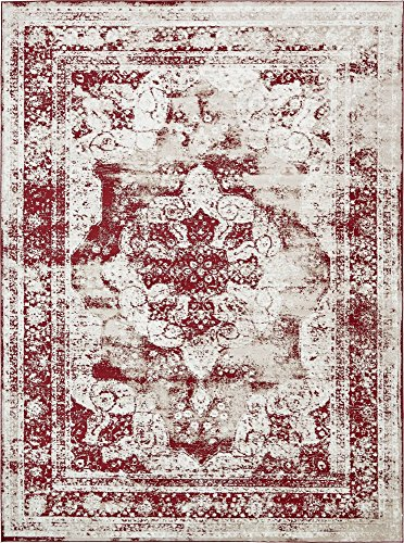 Burgundy Ivory Rug - Unique Loom Sofia Collection Traditional Vintage Burgundy Area Rug (9' x 12')