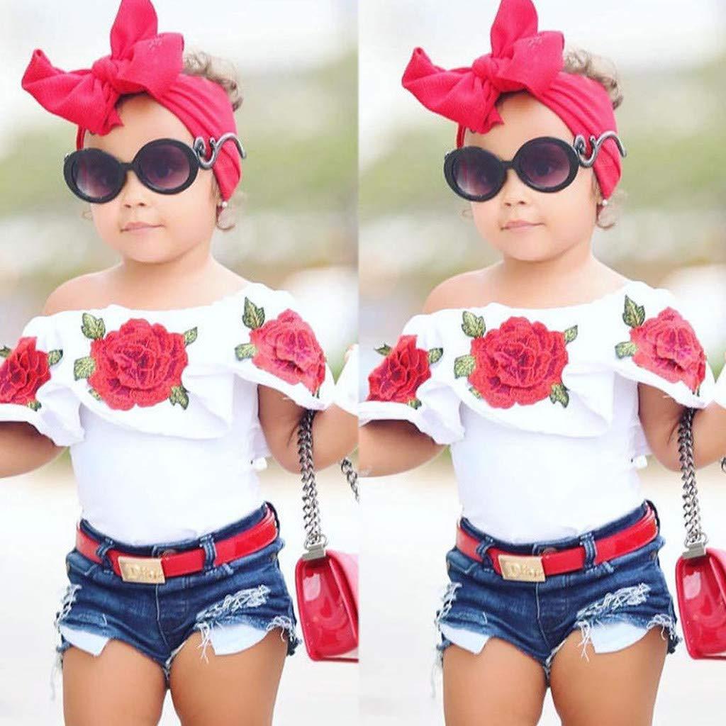 Kurz/ärmliges Schulterfreies Top Denim Shorts Hosen Kleidung Set HEETEY M/ädchen Kleid Rock Outfits Kleinkind Kinder Baby M/ädchen Outfits Flower Rose