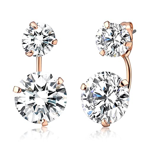 2ddecd76e Mytys Round Cubic Zirconia Ear Studs Double Sided Front Back Stud Fashion  Crystal Earrings for Women