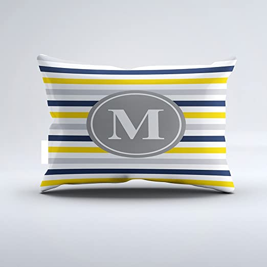 Amazon Com Christ Ez Navy Blue Yellow Striped Pattern Monogram Pillowcase Pillow Case Cushion Cover Home Sofa Decorative One Side 20x36 Inch Home Kitchen