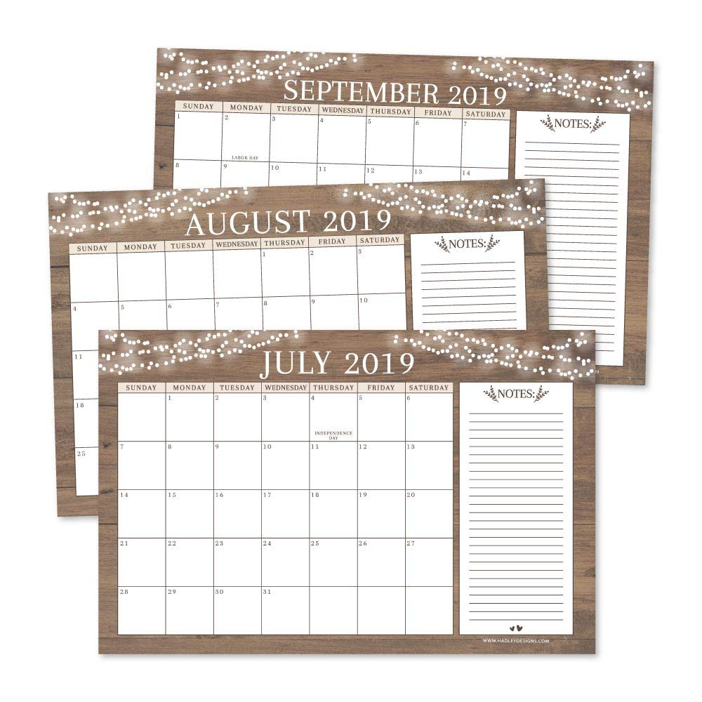 Rustic 2019-2020 Large Monthly Desk or Wall Calendar Planner, Big Giant Planning Blotter Pad, 18 Month Academic Desktop, Hanging 2-Year Date Notepad Teacher, Mom Family Home or Business Office 11x17""