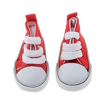 SONONIA 2足 1/4 BJD人形用 靴 キャンバス スポーツ シューズ 贈り物 赤と