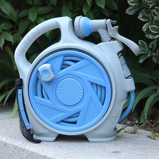 Jardín Carrete para Montaje en Manguera Automático Manguera de Riego Fácil para para Lavado de Autos Balcones y Jardín Pequeños Equipo de riego-Azul_22 * 12 * 32 cm: Amazon.es: Jardín