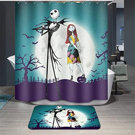 Amazon Youni Jack Skellington Shower Curtain72inch Curtain With Rug 2piece IncluedWaterproof Polyester Fabric Bath CurtainBlue Background