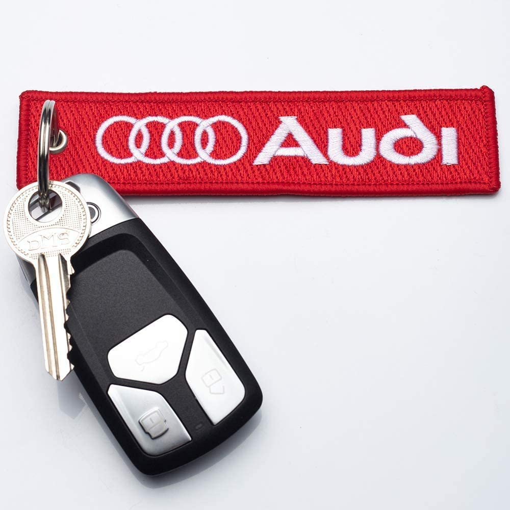 2Pack Embroidered Tag Keychain Key Ring for Car Motorcycles Bike Biker Key Chain Bag Phone Chain for Ford Accessories Gifts(Audi)