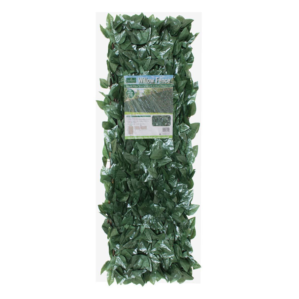 GARDENKRAFT Artificial Dark Ivy Expandable Willow Trellis Panel Green