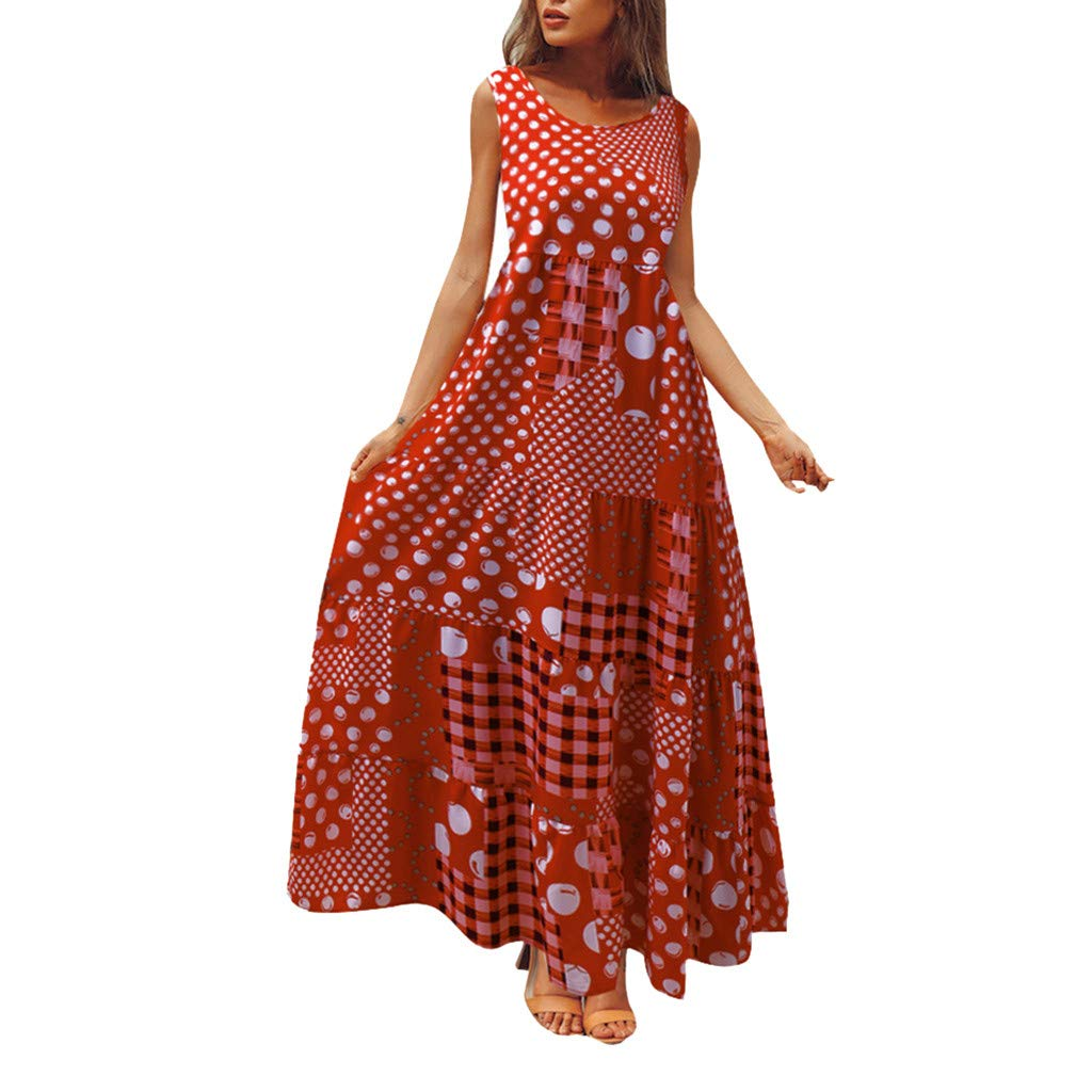 Mikilon Women Polka Dots Plaid Patchwork Maxi Dresses Sleeveless Casual Summer Long Tank Dress Red