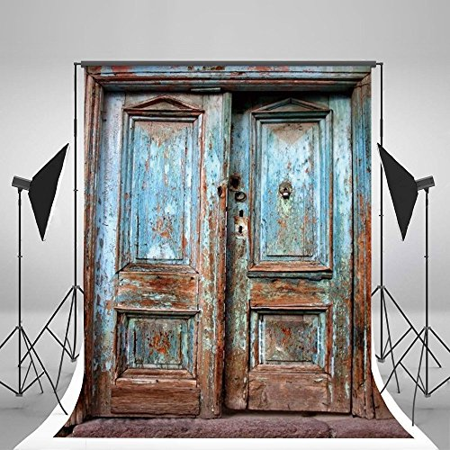 LB Rustic Barn Door Backdrop for Photography 5x7ft Vinyl Vintage Farmhouse Door Photo Backdrop for Wedding Birthday Party Portraits Photo Booth Background