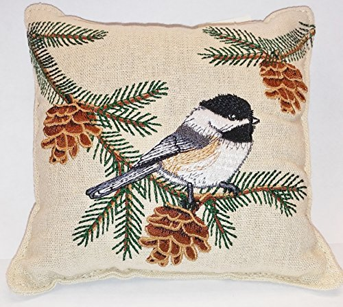 Chickadee & Pinecone Balsam Fir Pillow embroidered